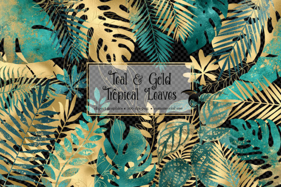 Print on Demand: Teal and Gold Tropical Leaves Graphic Illustrations By Digital Curio - Image 2