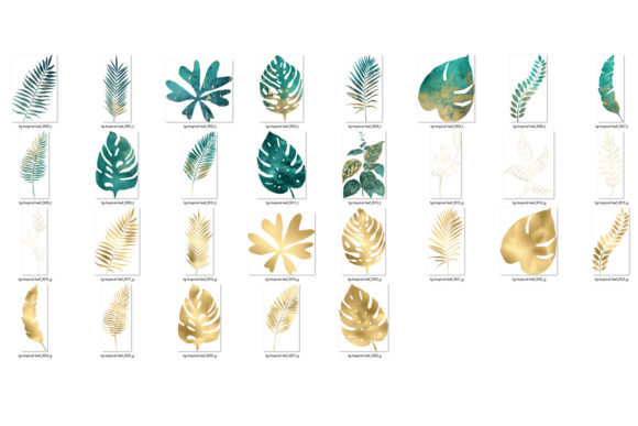 Print on Demand: Teal and Gold Tropical Leaves Graphic Illustrations By Digital Curio - Image 3
