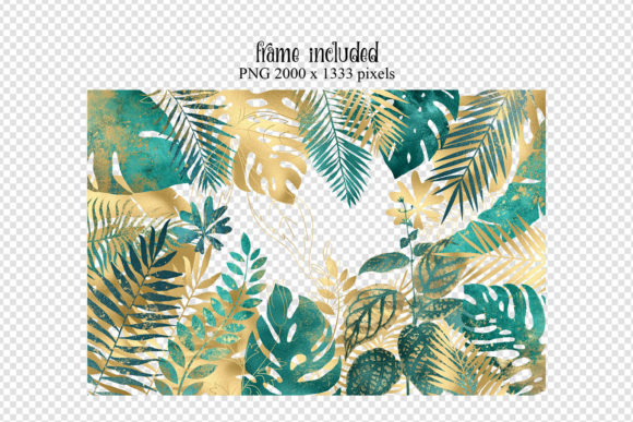Print on Demand: Teal and Gold Tropical Leaves Graphic Illustrations By Digital Curio - Image 4