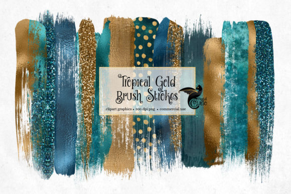 Print on Demand: Tropical Gold Brush Strokes Clipart Gráfico Ilustraciones Por Digital Curio