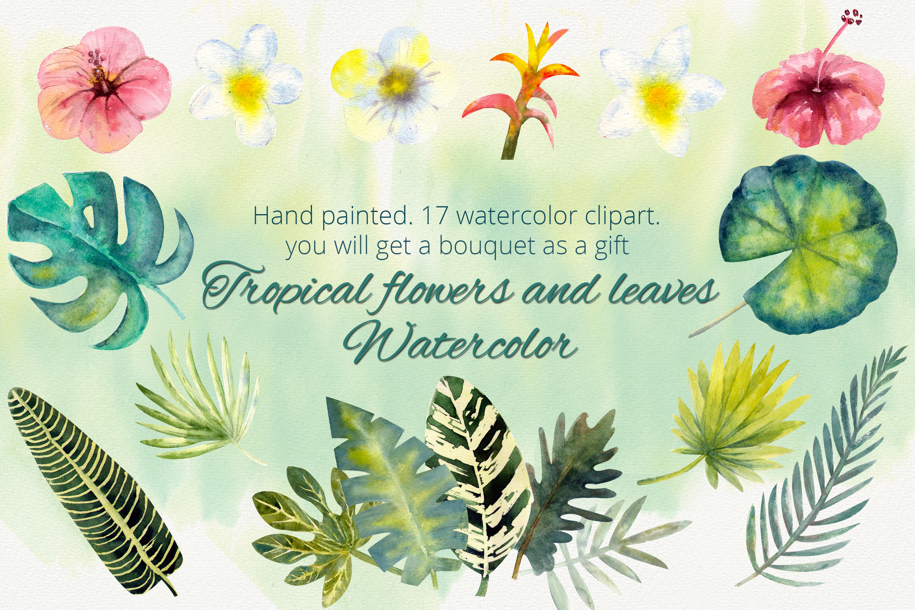 Download Free Tropical Flowers And Leaves Watercolor Graphic By Natika Art for Cricut Explore, Silhouette and other cutting machines.