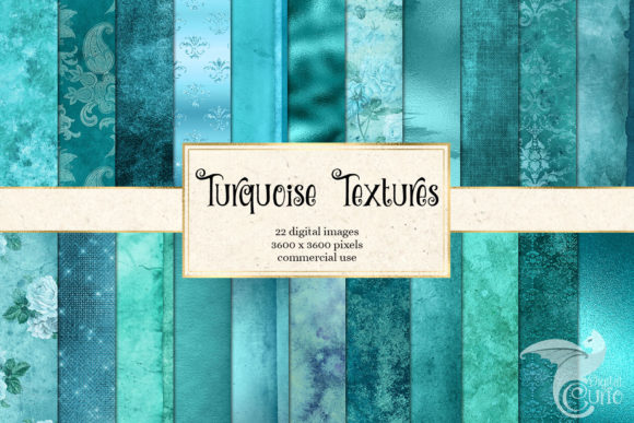 Print on Demand: Turquoise Textures Digital Paper Grafik Texturen von Digital Curio