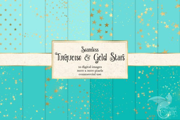 Print on Demand: Turquoise and Gold Stars Digital Paper Graphic Patterns By Digital Curio