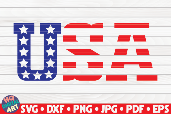 Download Free Usa Word Flag 4th Of July Design Graphic By Mihaibadea95 for Cricut Explore, Silhouette and other cutting machines.