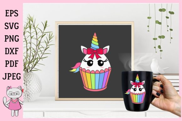 Unicorn Cupcake Birthday Party Decoration Graphic By Magic