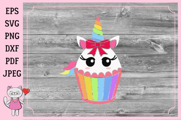Download Free Unicorn Cupcake Birthday Party Decoration Graphic By Magic for Cricut Explore, Silhouette and other cutting machines.