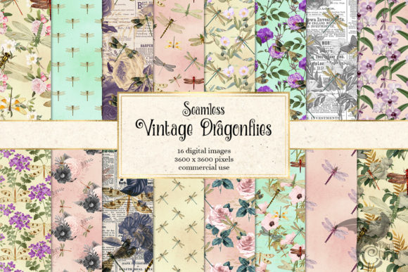 Print on Demand: Vintage Dragonflies Digital Paper Graphic Textures By Digital Curio