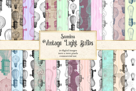 Print on Demand: Vintage Light Bulbs Digital Paper Graphic Patterns By Digital Curio