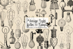 Print on Demand: Vintage Light Bulbs and Lamps Graphic Illustrations By Digital Curio