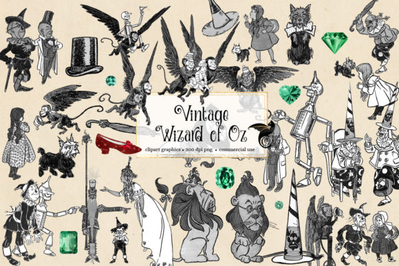 Print on Demand: Vintage Wizard of Oz Clip Art Grafik Illustrationen von Digital Curio