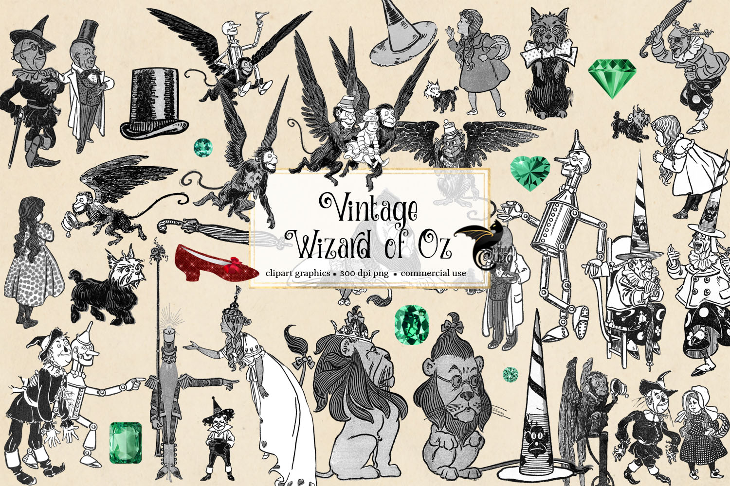 Download Free Vintage Wizard Of Oz Clip Art Graphic By Digital Curio for Cricut Explore, Silhouette and other cutting machines.