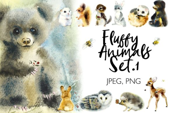 Watercolor Fluffy Wild Animals Graphic Illustrations By Мария Кутузова