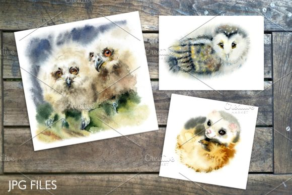 Watercolor Fluffy Wild Animals Graphic Illustrations By Мария Кутузова - Image 2