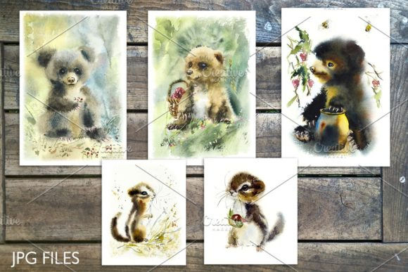 Watercolor Fluffy Wild Animals Graphic Illustrations By Мария Кутузова - Image 3