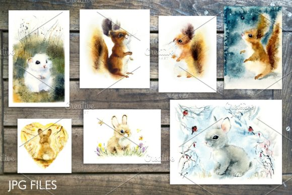 Watercolor Fluffy Wild Animals Graphic Illustrations By Мария Кутузова - Image 6