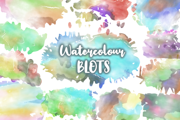 Print on Demand: Watercolor Ink Blots & Splashes Graphic Backgrounds By Prawny