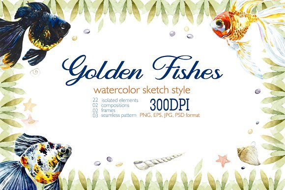 Download Free Watercolor Set With Golden Fishes Graphic By Mariya Kutuzova for Cricut Explore, Silhouette and other cutting machines.