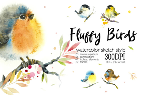 Watercolor Spring Birds Set Graphic Illustrations By Мария Кутузова