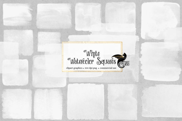 Print on Demand: White Watercolor Squares Clipart Grafik Illustrationen von Digital Curio