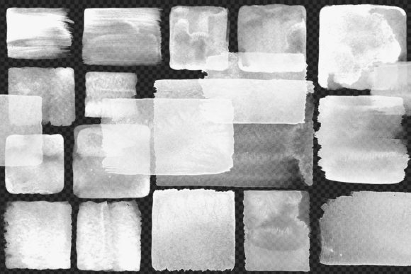 Print on Demand: White Watercolor Squares Clipart Graphic Illustrations By Digital Curio - Image 4