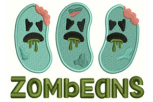 Zombeans Halloween Embroidery Design By designsbymira