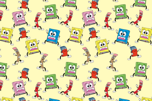 Print on Demand: Cute Cartoon Stationery Pattern Graphic Patterns By curutdesign