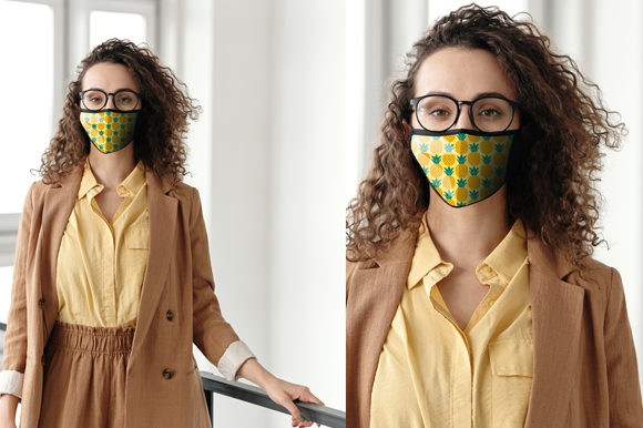 Girl Wear Face Mask Mock Up Graphic By Knou Creative Fabrica