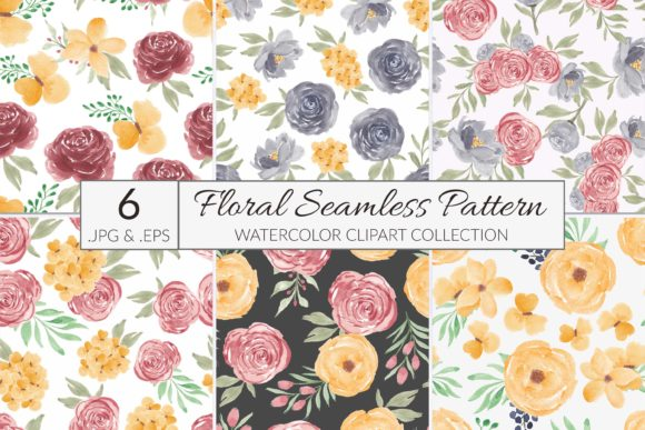 Print on Demand: 6 Watercolor Flower Seamless Pattern Graphic Patterns By elsabenaa