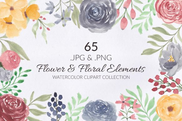 Print on Demand: 65 Flower and Floral Watercolor Clipart Graphic Illustrations By elsabenaa