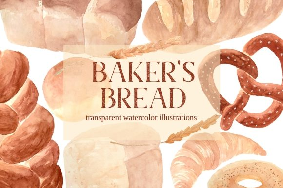 Print on Demand: Bakery Bread Watercolor Clipart Set Graphic Illustrations By roselocket