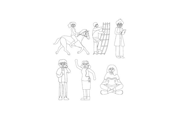 Download Free Cartoon Characters Pose Set Outline Graphic By Printablesplazza for Cricut Explore, Silhouette and other cutting machines.