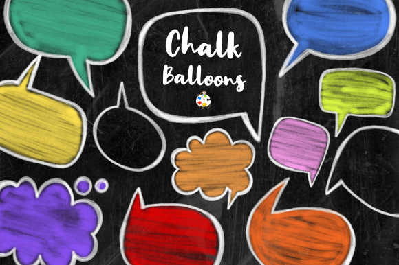 Print on Demand: Chalk Board Word Bubbles Speech Clipart Graphic Illustrations By Prawny - Image 1