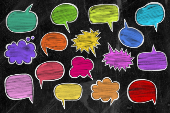 Print on Demand: Chalk Board Word Bubbles Speech Clipart Graphic Illustrations By Prawny - Image 2