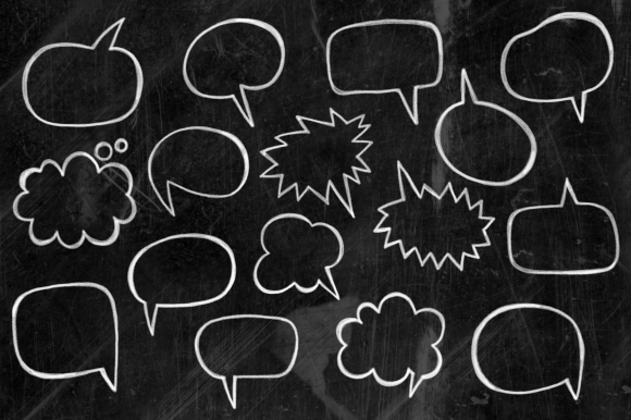 Print on Demand: Chalk Board Word Bubbles Speech Clipart Graphic Illustrations By Prawny - Image 3
