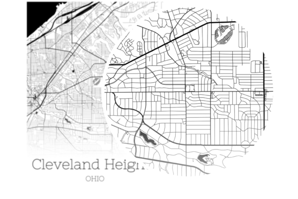Download Free Cleveland Heights Ohio City Map Graphic By Svgexpress Creative for Cricut Explore, Silhouette and other cutting machines.