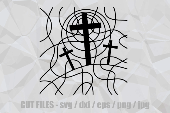 Download Free Easter Stained Glass Calvary Cut File Graphic By Prawny for Cricut Explore, Silhouette and other cutting machines.
