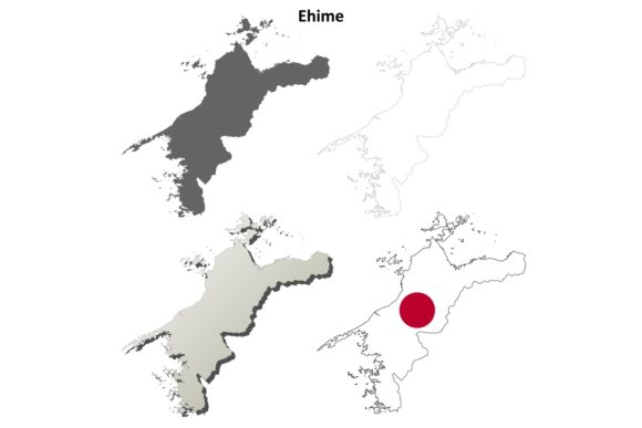 Download Free Ehime Outline Map Set Graphic By Davidzydd Creative Fabrica for Cricut Explore, Silhouette and other cutting machines.