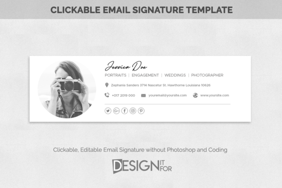 Download Free Email Signature Template Clickable Graphic By Designitfor for Cricut Explore, Silhouette and other cutting machines.