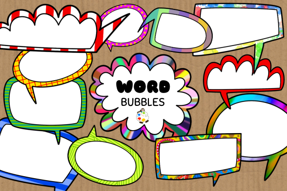 Print on Demand: Funky Comic Word Bubble Clipart Set Graphic Crafts By Prawny