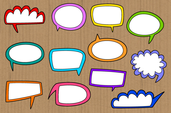 Print on Demand: Funky Comic Word Bubble Clipart Set Graphic Crafts By Prawny - Image 2