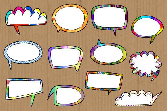 Print on Demand: Funky Comic Word Bubble Clipart Set Graphic Crafts By Prawny - Image 3
