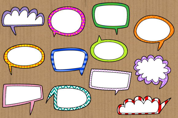 Print on Demand: Funky Comic Word Bubble Clipart Set Graphic Crafts By Prawny - Image 4