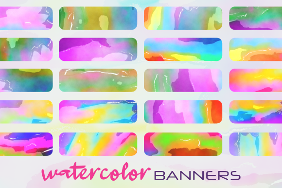 Print on Demand: Funky Watercolor Background Banners Graphic Backgrounds By Prawny