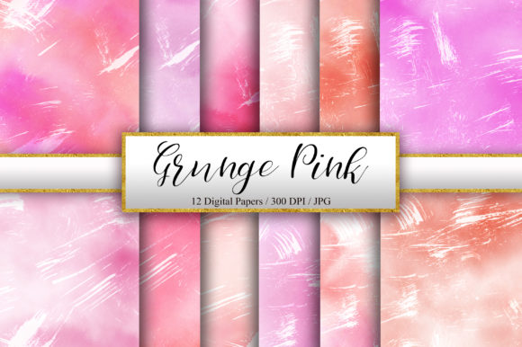 Grunge Pink Ombre Watercolor Background Graphic Backgrounds By PinkPearly