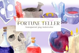 Print on Demand: Halloween Fortune Teller Clipart Set Graphic Illustrations By roselocket