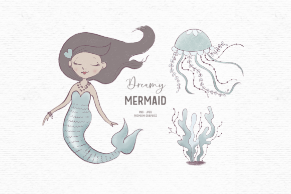 Print on Demand: Hand-drawn Mermaid Clipart Graphic Illustrations By Wallifyer