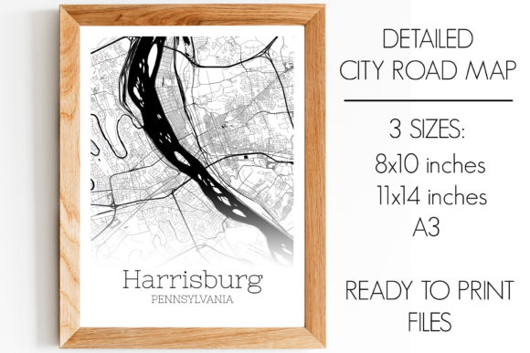 Print on Demand: Harrisburg Pennsylvania City Map Graphic Photos By SVGExpress