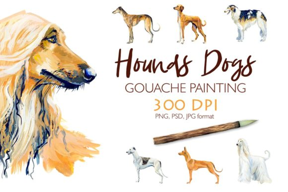 Hounds. Gouache Cliparts Graphic Illustrations By Мария Кутузова - Image 1