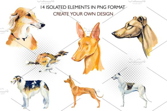 Hounds. Gouache Cliparts Graphic Illustrations By Мария Кутузова - Image 2