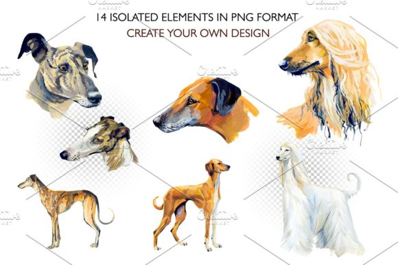 Hounds. Gouache Cliparts Graphic Illustrations By Мария Кутузова - Image 3